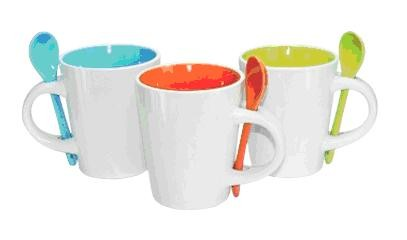 UMG1101 Dual Colour Ceramic Mug with Spoon